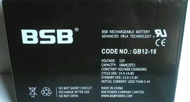 Baterai VRLA UPS Aki Kering 12V 18Ah BSB GB12-18A