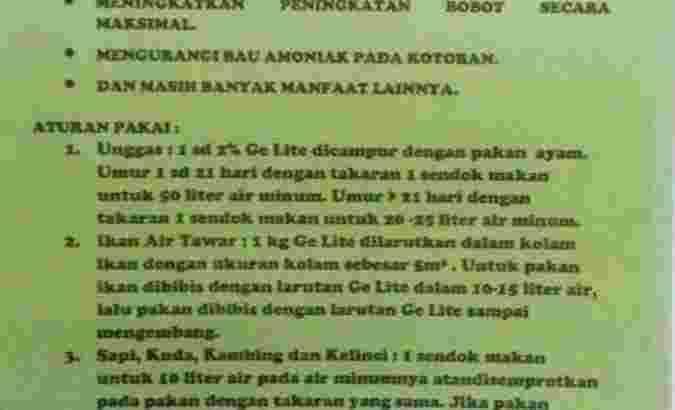 Supermineral Ge Lite Solusi Sukses Petani & Peternak Indonesia