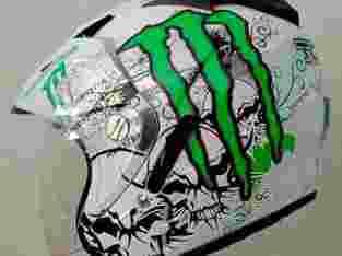 Helm double visor motif monster