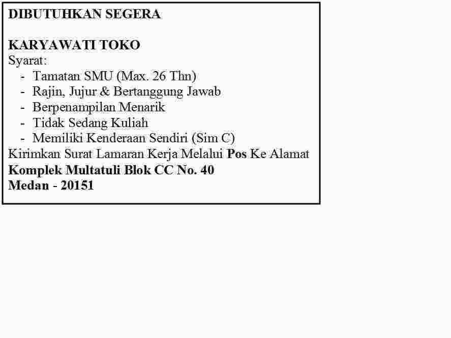 Dicari Karyawati Toko Baju Anak Anak Medan Pasti Terjual