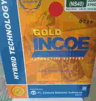 Dijual aki mobil merek incoe gold murah, tipe ns 40