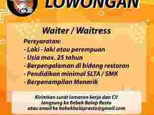 Lowongan Waiter / Waitress Bebek Balap Resto