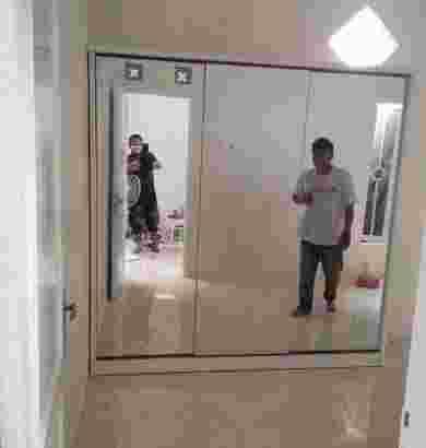 Lemari pakaian pintu 3 sleding Full kaca cermin. pembayaran Bisa COD Utk wilayah Jabodetabek