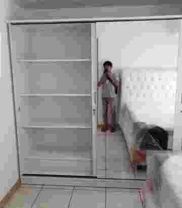 Lemari pakaian minimalis pintu 2 sleding Jumbo Full kaca cermin