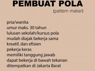 Dibutuhkan Pembuat Pola (Pattern Maker)