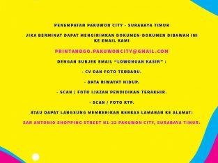 Lowongan Kasir & Customer Service Digital Printing