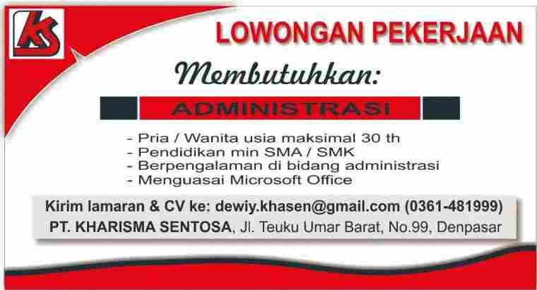 Dicari Staff Administrasi Denpasar