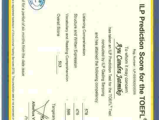 Biro jasa proses sertifikat TOEFL