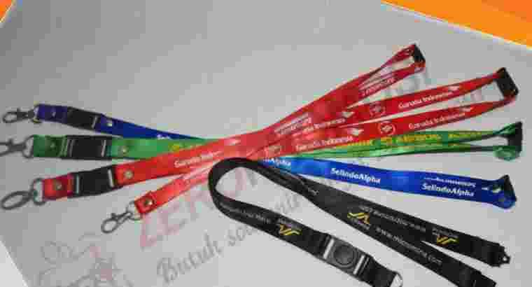 Tali Id Card 2,5 cm Sablon 1 Warna 1 Sisi + Akseso