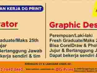 Lowongan Kerja Operator dan Graphic Designer