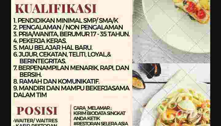 Lowongan Kerja Waiter, Kasir, Crew,OB, Admin Resto