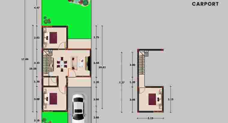 Rumah Dekat UII, 1 lantai Mezzanine tipe 56