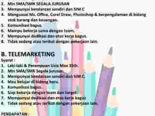 Loker administrasi dan telemarketing